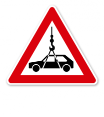 Verkehrsschild Achtung Autokran