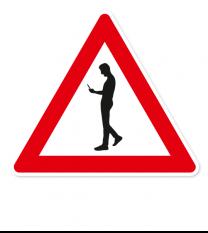 Verkehrsschild Smombie - Aufstellung rechts (Fußgänger mit Handy)