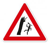 Verkehrsschild Warnung vor umstürzenden Bäumen und herabfallenden Ästen