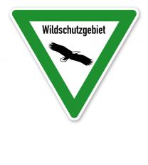 Verkehrsschild Wildschutzgebiet – Adler