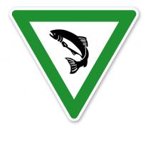 Verkehrsschild Naturschutzgebiet – Fischschonbezirk