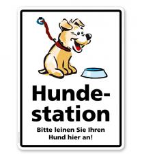Hinweisschild Hundestation - Leinen Sie Ihren Hund hier an - WH