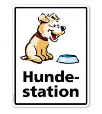 Hinweisschild Hundestation - WH