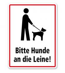 Hinweisschild Bitte Hunde an die Leine - WH
