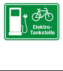 Hinweisschild Elektro-Tankstelle für Fahrräder