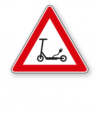 Achtung Elektrokleinstfahrzeuge (e Scooter) - Verkehrsschild VZ-ES-02