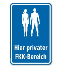 Hinweisschild Hier privater FKK-Bereich - WH