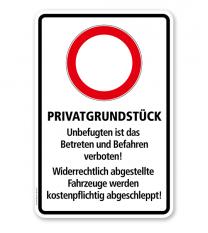 Hinweisschild Privatgrundstück. Unbefugtes Betreten und Befahren verboten - WH