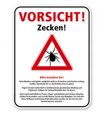 Hinweisschild Vorsicht Zecken - mit Erläuterungen - WH