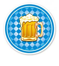 Festschild Kreis Bayern-Rautenmuster mit Bierkrug - WH