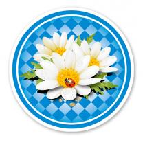 Festschild Kreis Bayern-Rautenmuster mit Blüten - WH