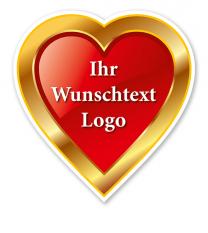 Maibaumschild Herz mit Goldrand - WH