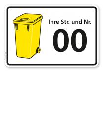 Schild Gelbe Tonne mit Straßennamen und Nummer - WH