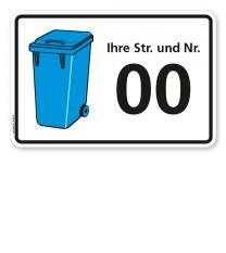 Schild Blaue Tonne mit Straßennamen und Nummer - WH
