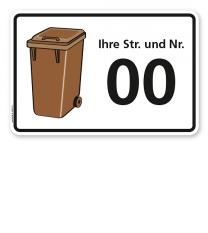 Schild Braune Tonne mit Straßennamen und Nummer - WH