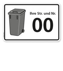 Schild Graue Tonne mit Straßennamen und Nummer - WH