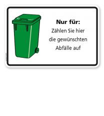 Schild Grüne Tonne mit individuellen Inhaltsangaben - WH