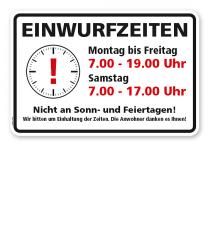 Schild Einwurfzeiten Abfallentsorgung - WH