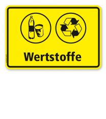 Schild Abfallentsorgung mit Symbolen – Wertstoffe - WH