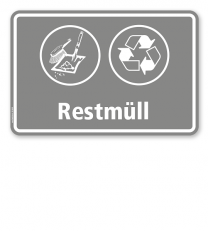 Schild Abfallentsorgung mit Symbolen – Restmüll - WH