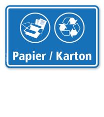 Schild Abfallentsorgung mit Symbolen – Papier / Karton - WH