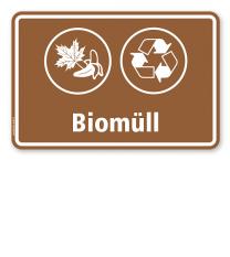 Schild Abfallentsorgung mit Symbolen – Biomüll - WH