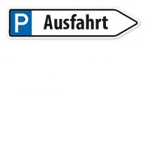 Pfeilschild / Pfeilwegweiser Ausfahrt - mit Parkplatzsymbol - WH