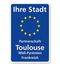 Schild Städtepartnerschaft mit EU-Sternen 2 - WH
