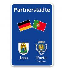 Schild Städtepartnerschaft mit 2 Flaggen u. 2 Wappen - WH