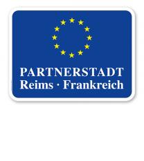 Schild Städtepartnerschaft mit EU-Sternen - quer - WH
