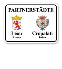 Schild Städtepartnerschaft mit 2 Wappen - weiß - quer - WH