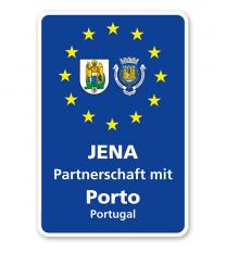 Schild Städtepartnerschaft mit 2 Wappen u. 1 Partnerstadt - WH