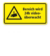 Hinweisschild Bereich wird 24 h videoüberwacht - WH