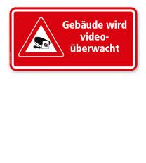 Hinweisschild Gebäude wird videoüberwacht - rot - WH