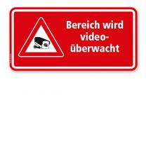 Hinweisschild Bereich wird videoüberwacht - rot - WH