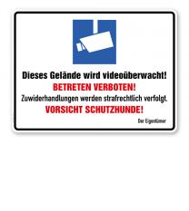 Hinweisschild Dieses Gelände wird videoüberwacht! Betreten verboten - WH