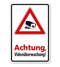 Hinweisschild Achtung, videoüberwacht - WH