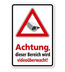 Hinweisschild Achtung, dieser Bereich wird videoüberwacht - WH