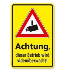 Hinweisschild Achtung, dieser Betrieb wird videoüberwacht - WH
