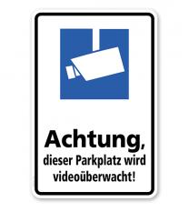 Hinweisschild Achtung, dieser Parkplatz wird videoüberwacht - WH