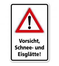 Schild Vorsicht, Schnee- und Eisglätte - WH