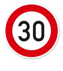 Zulässige Höchstgeschwindigkeit 30 km/h - Verkehrsschild VZ 274-53