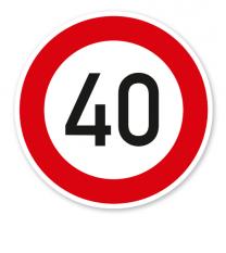 Zulässige Höchstgeschwindigkeit 40 km/h - Verkehrsschild VZ 274-54