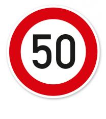 Zulässige Höchstgeschwindigkeit 50 km/h - Verkehrsschild VZ 274-55