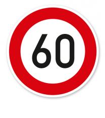 Zulässige Höchstgeschwindigkeit 60 km/h - Verkehrsschild VZ 274-56