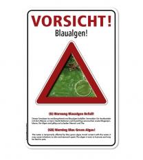 Warnschild Vorsicht, Blaualgen – G/GW - zweisprachig